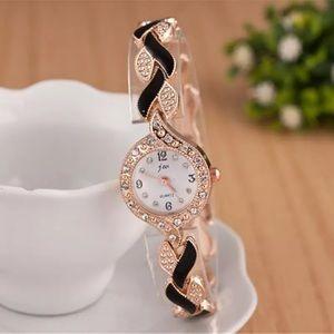 🎀New Luxury Black Golden Dress Watch Rhinestones